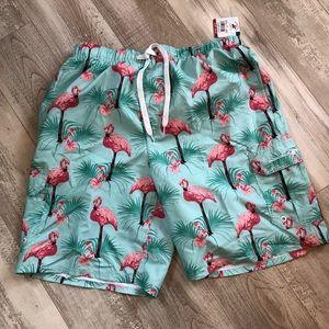 Fun flamingo swim shorts! Lg